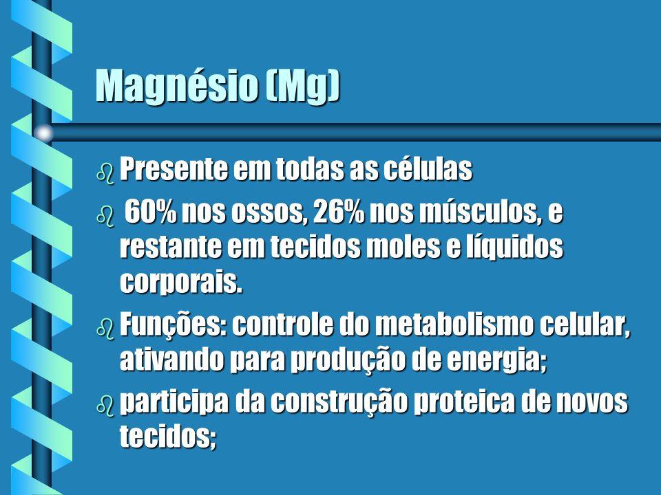 Magnésio (Mg) Presente em todas as células