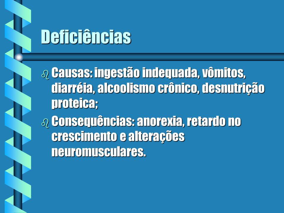 Deficiências Causas: ingestão indequada, vômitos, diarréia, alcoolismo crônico, desnutrição proteica;