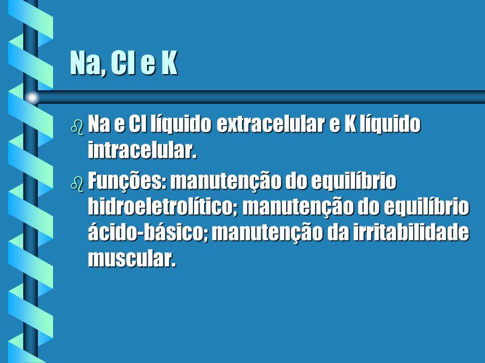 Na, Cl e K Na e Cl líquido extracelular e K líquido intracelular.