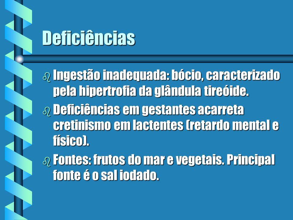 Deficiências Ingestão inadequada: bócio, caracterizado pela hipertrofia da glândula tireóide.