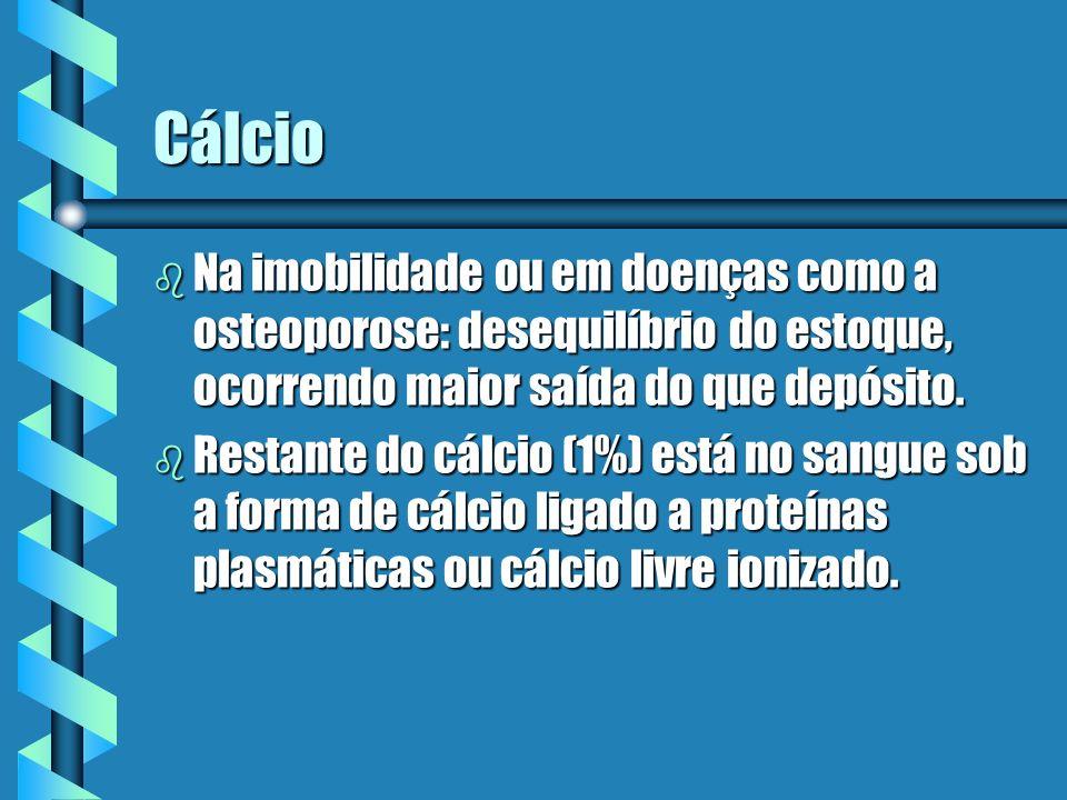 Cálcio Na imobilidade ou em doenças como a osteoporose: desequilíbrio do estoque, ocorrendo maior saída do que depósito.