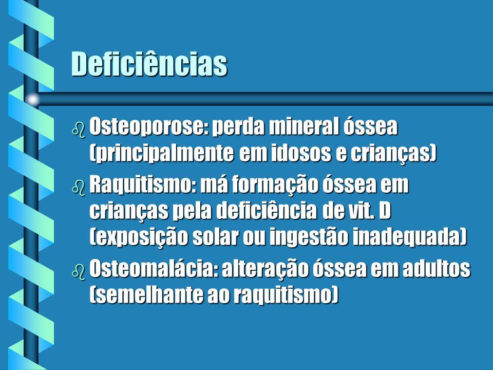 Deficiências Osteoporose: perda mineral óssea (principalmente em idosos e crianças)