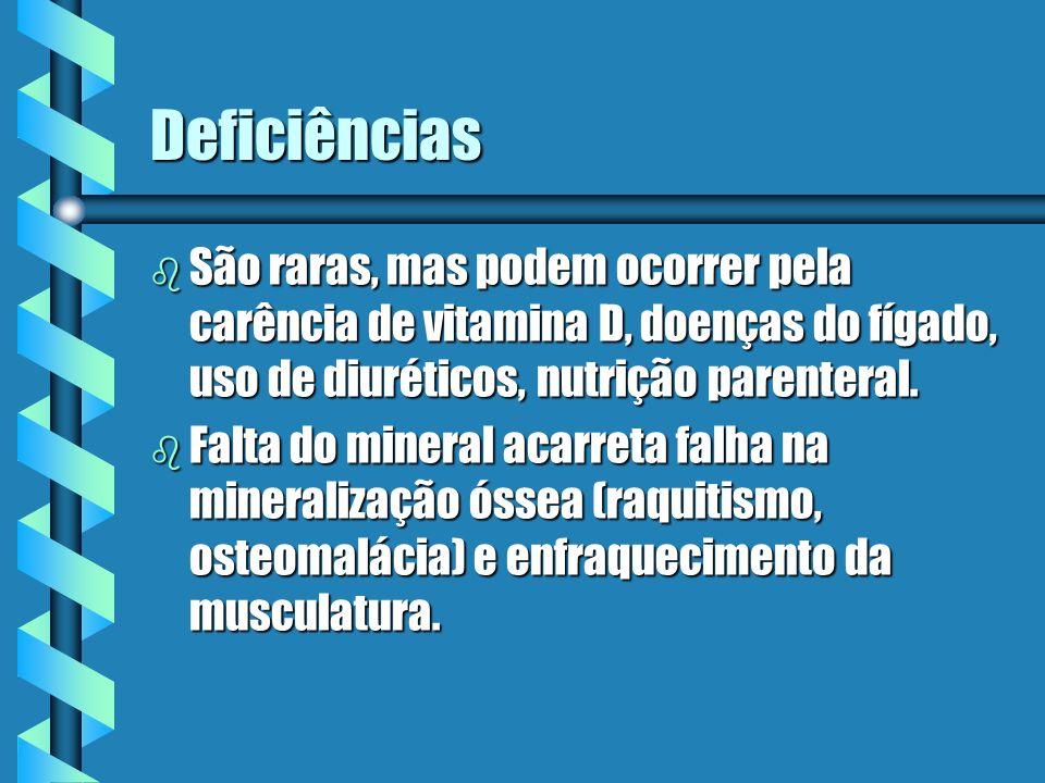 Deficiências São raras, mas podem ocorrer pela carência de vitamina D, doenças do fígado, uso de diuréticos, nutrição parenteral.