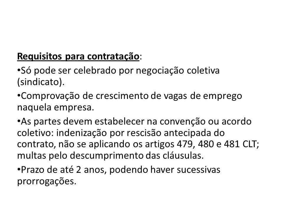 Requisitos para contratação: