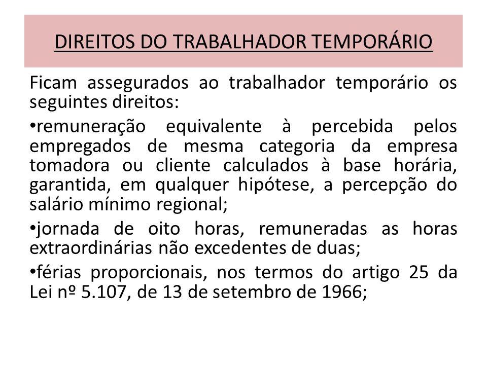 DIREITOS DO TRABALHADOR TEMPORÁRIO
