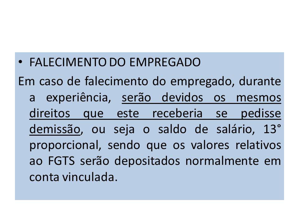 FALECIMENTO DO EMPREGADO