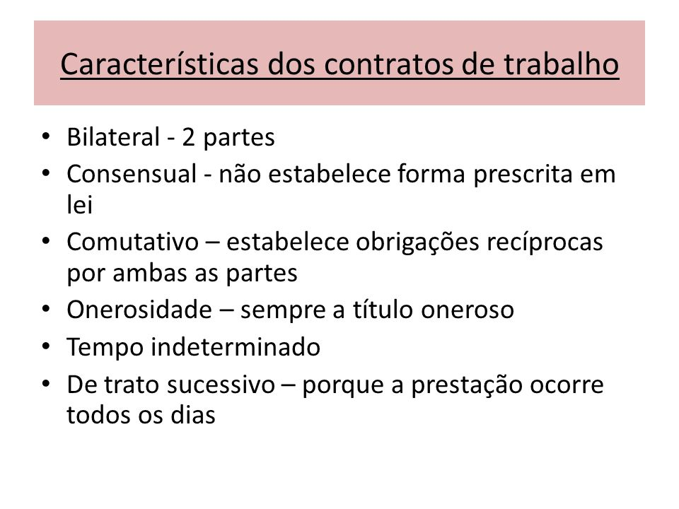 Características dos contratos de trabalho