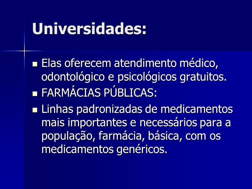 Universidades:Elas oferecem atendimento médico, odontológico e psicológicos gratuitos. FARMÁCIAS PÚBLICAS: