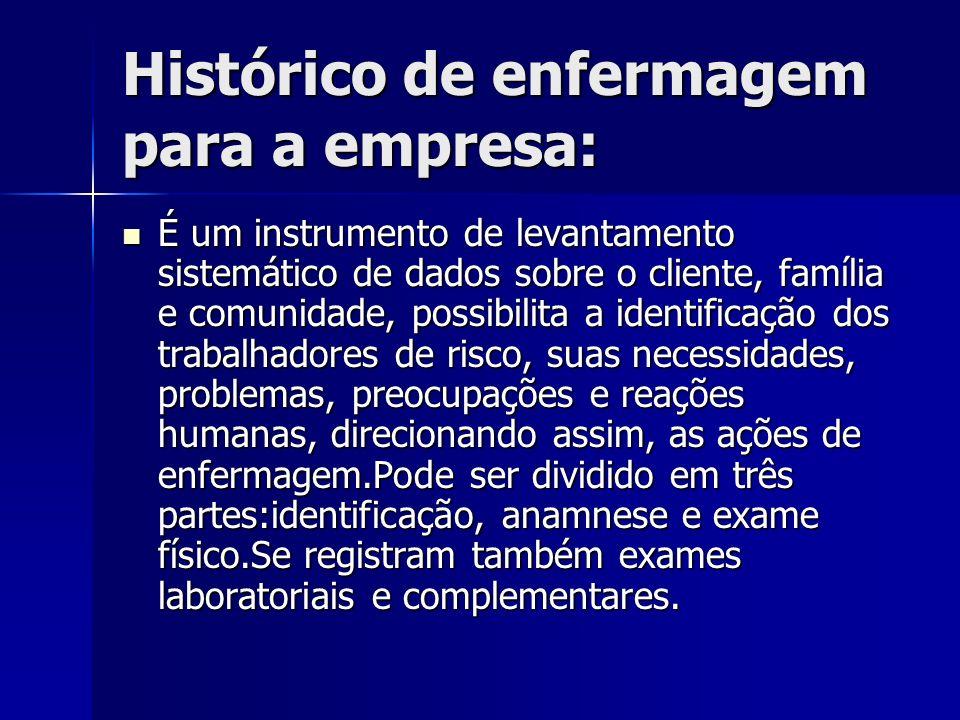 Histórico de enfermagem para a empresa: