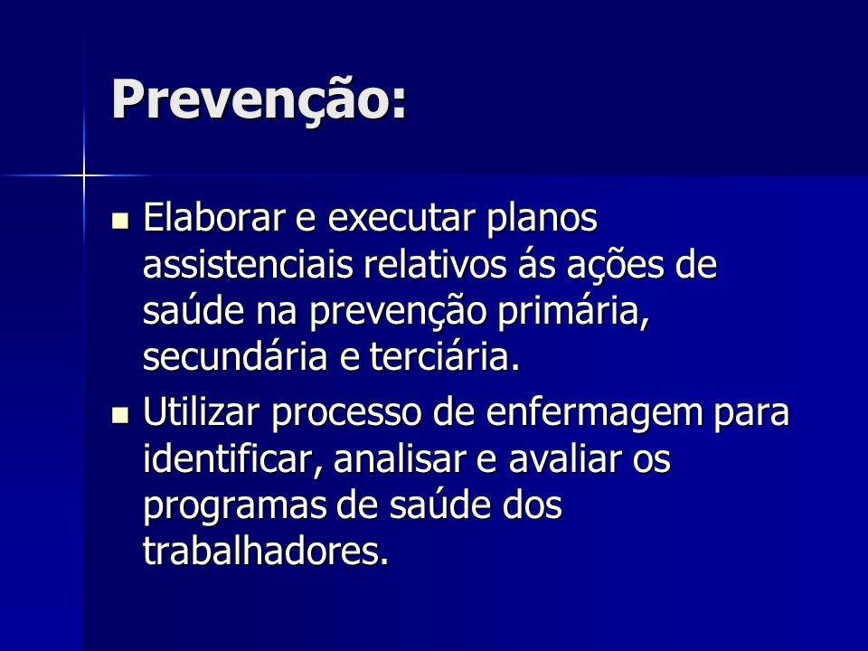 Prevenção: Elaborar e executar planos assistenciais relativos ás ações de saúde na prevenção primária, secundária e terciária.