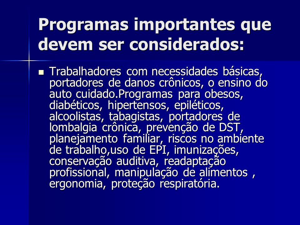 Programas importantes que devem ser considerados: