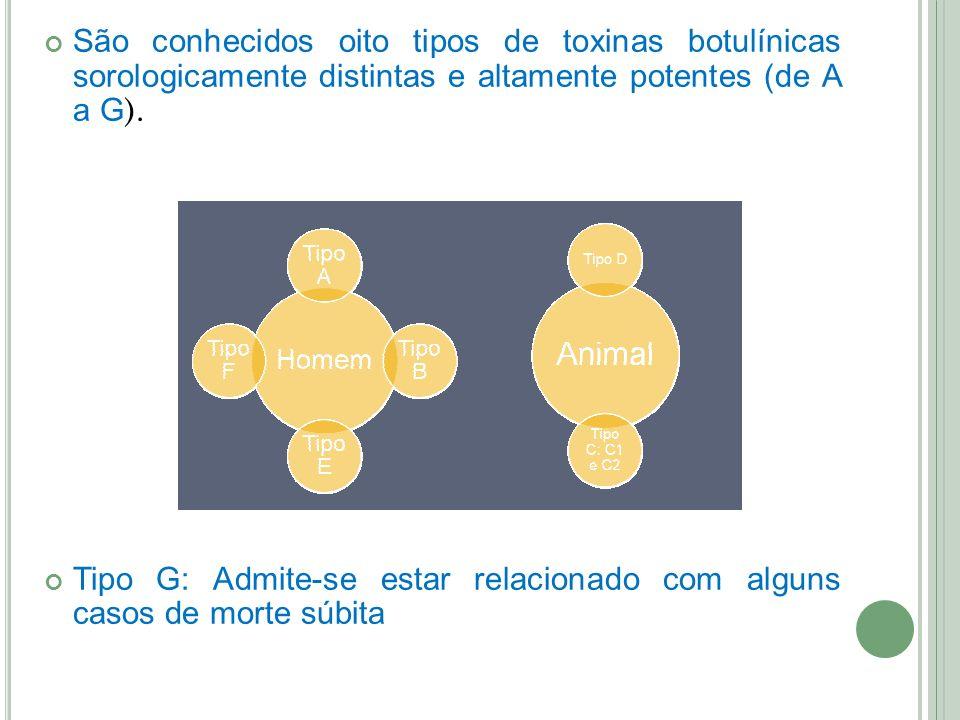 São conhecidos oito tipos de toxinas botulínicas sorologicamente distintas e altamente potentes (de A a G).