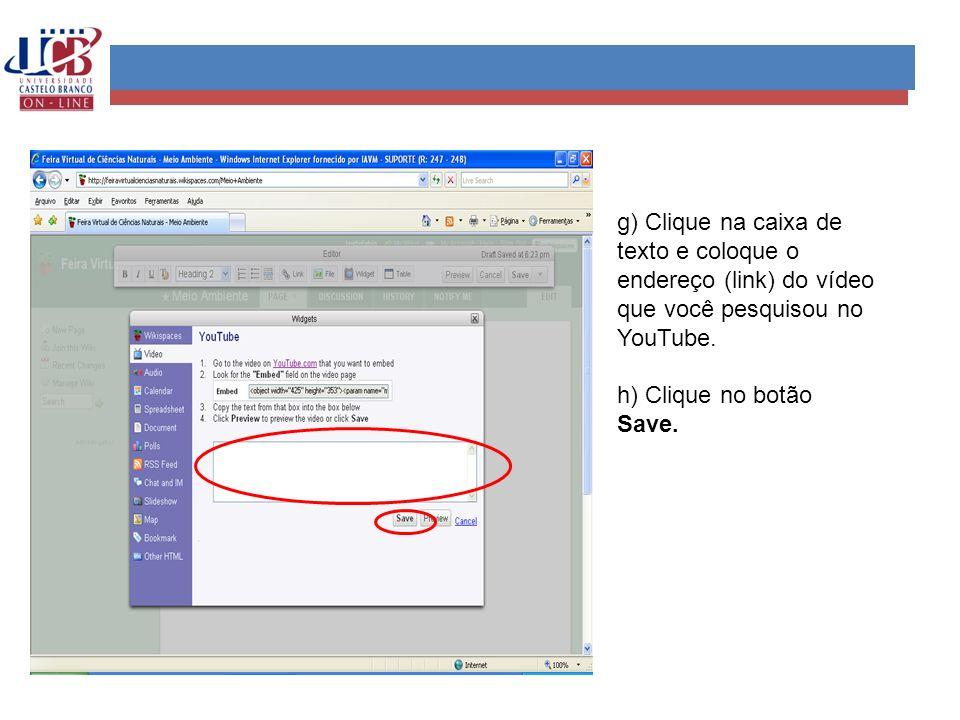 g) Clique na caixa de texto e coloque o endereço (link) do vídeo que você pesquisou no YouTube.