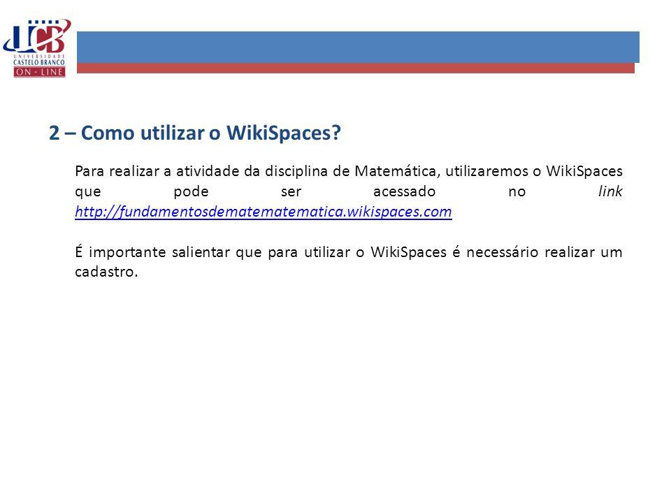 2 – Como utilizar o WikiSpaces