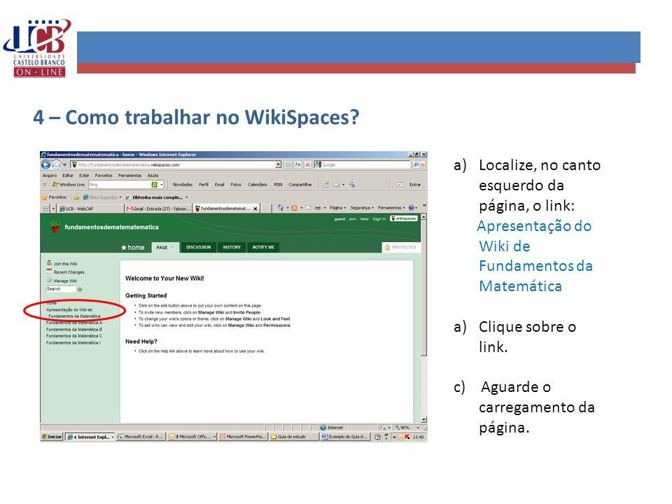 4 – Como trabalhar no WikiSpaces
