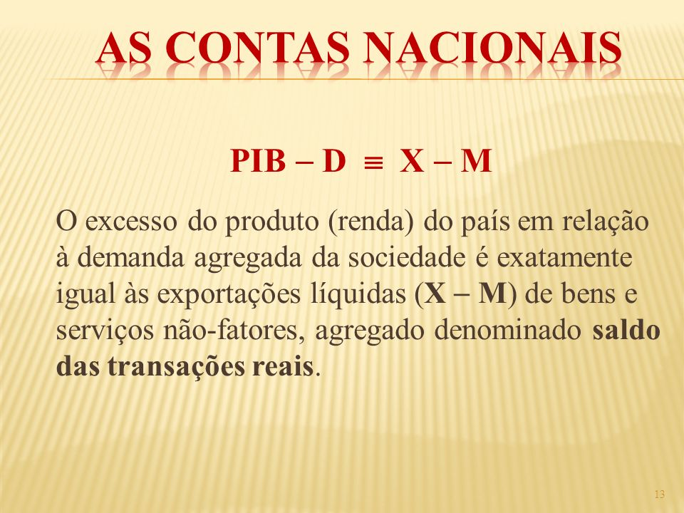 As Contas Nacionais PIB  D  X  M