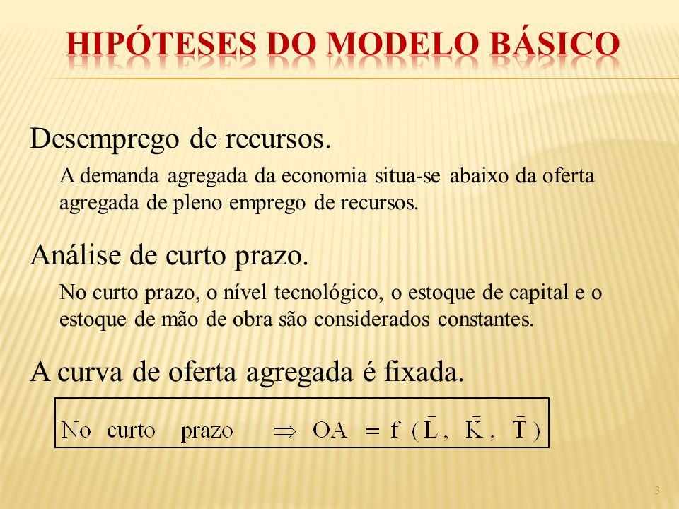Hipóteses do Modelo Básico