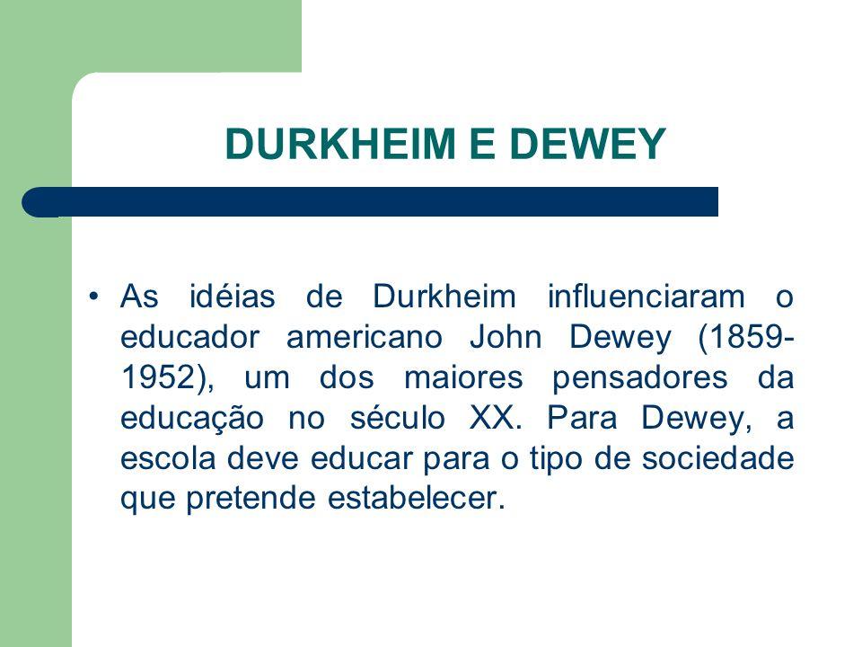 DURKHEIM E DEWEY