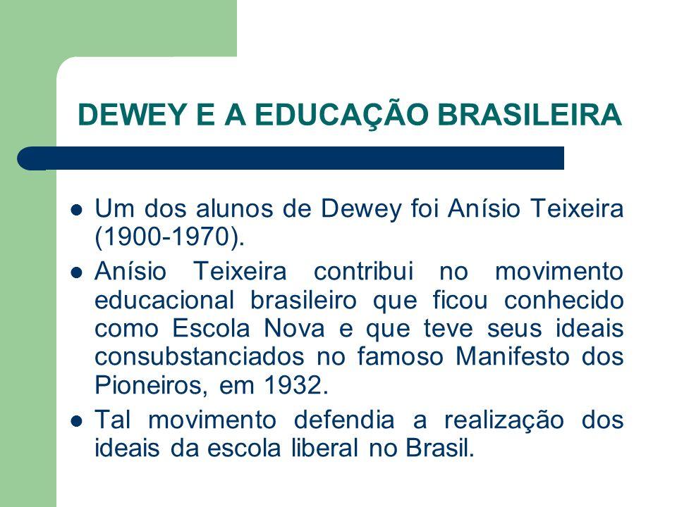 DEWEY E A EDUCAÇÃO BRASILEIRA