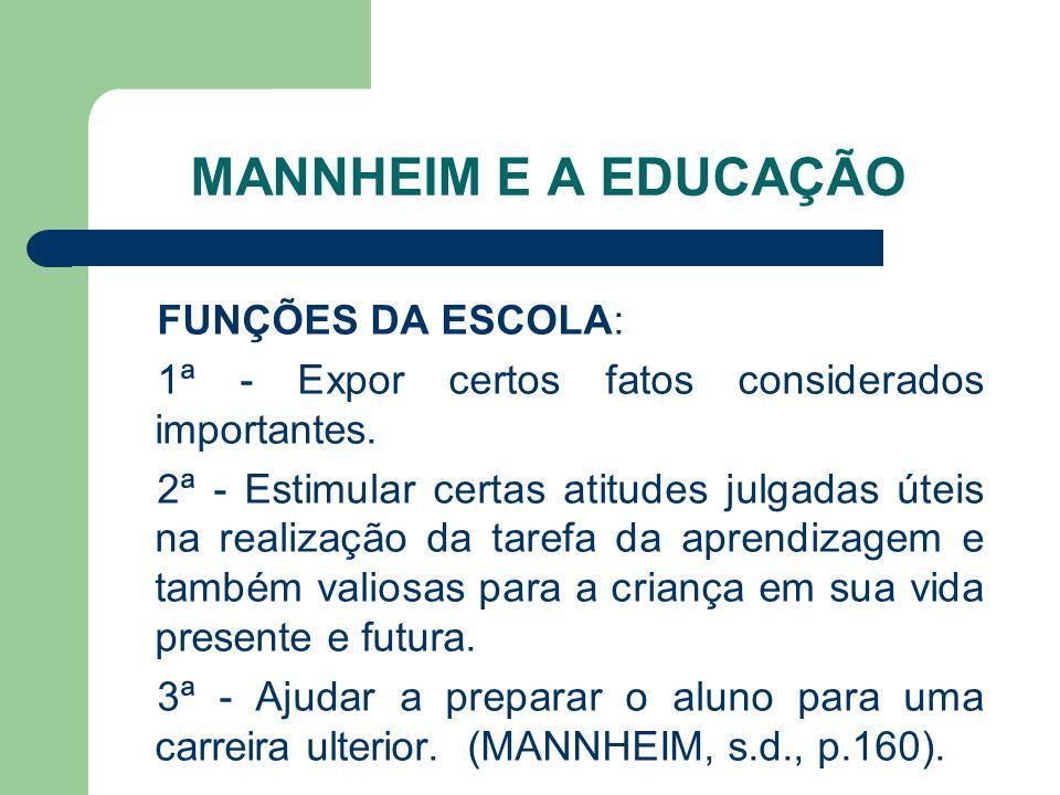 MANNHEIM E A EDUCAÇÃO FUNÇÕES DA ESCOLA: