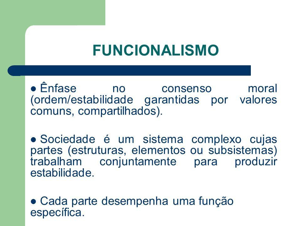 FUNCIONALISMOÊnfase no consenso moral (ordem/estabilidade garantidas por valores comuns, compartilhados).