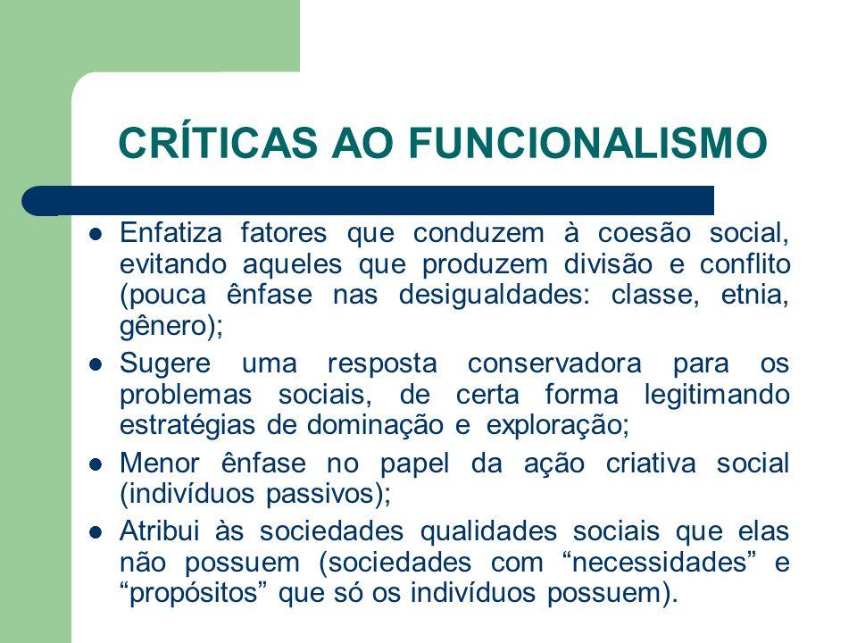 CRÍTICAS AO FUNCIONALISMO