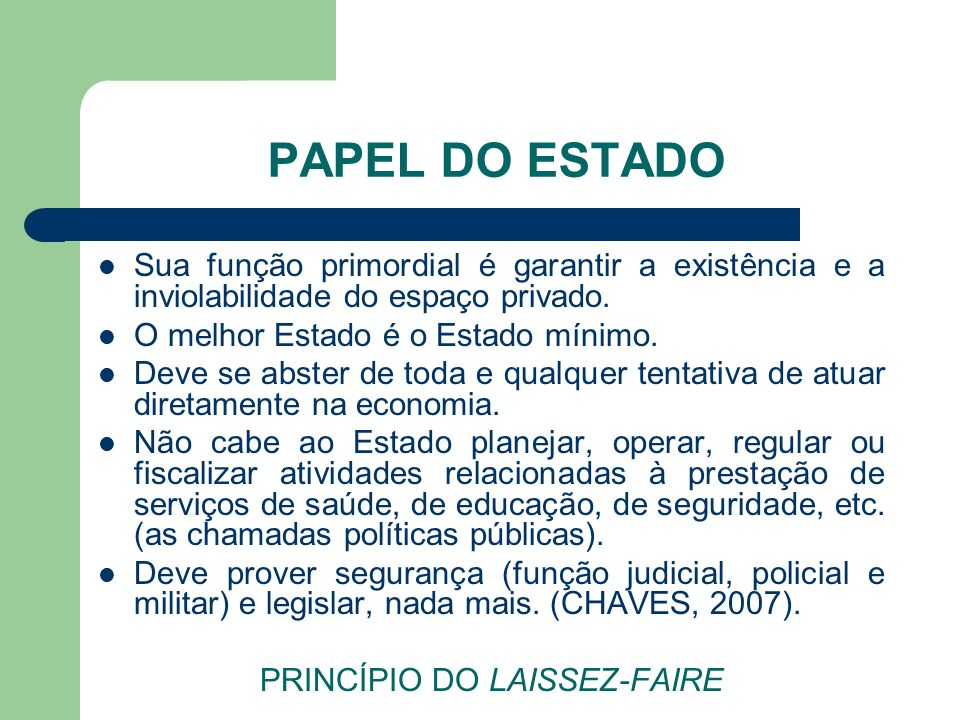 PRINCÍPIO DO LAISSEZ-FAIRE