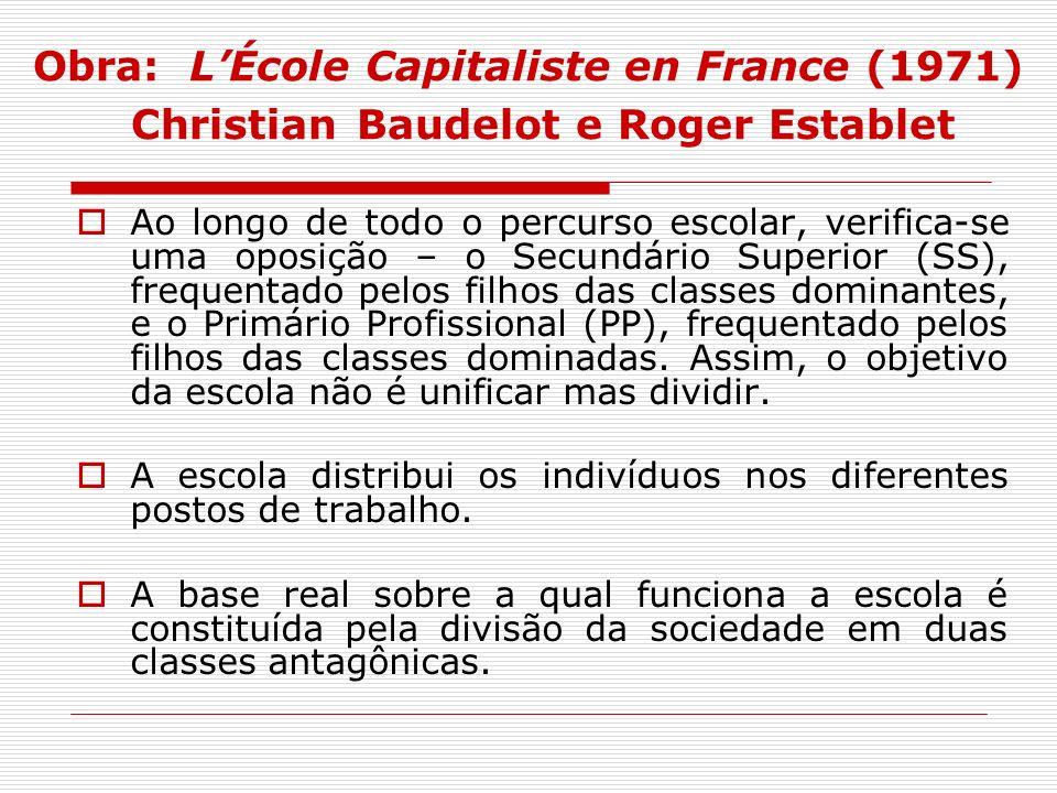 Obra: L'École Capitaliste en France (1971) Christian Baudelot e Roger Establet