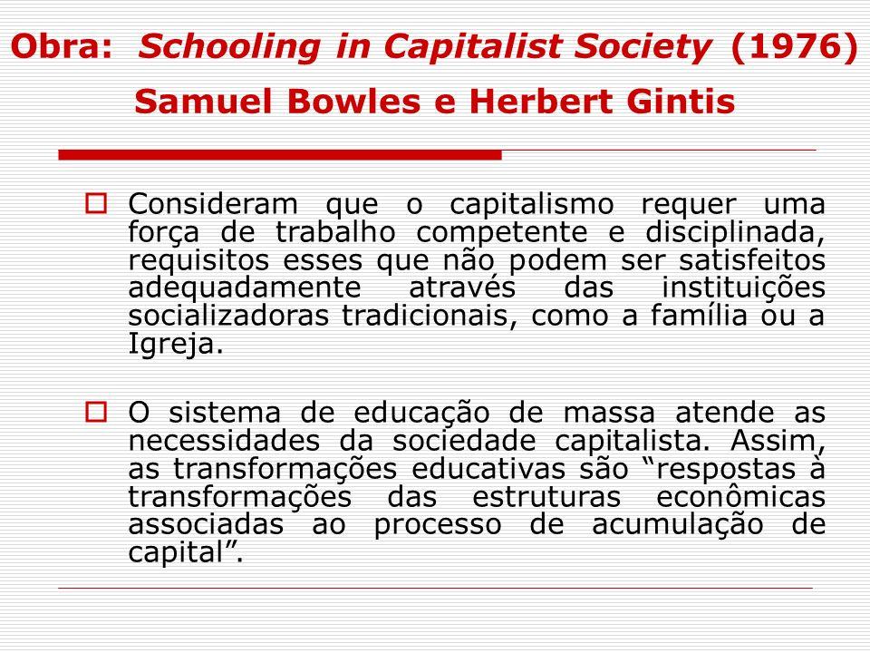 Obra: Schooling in Capitalist Society (1976) Samuel Bowles e Herbert Gintis