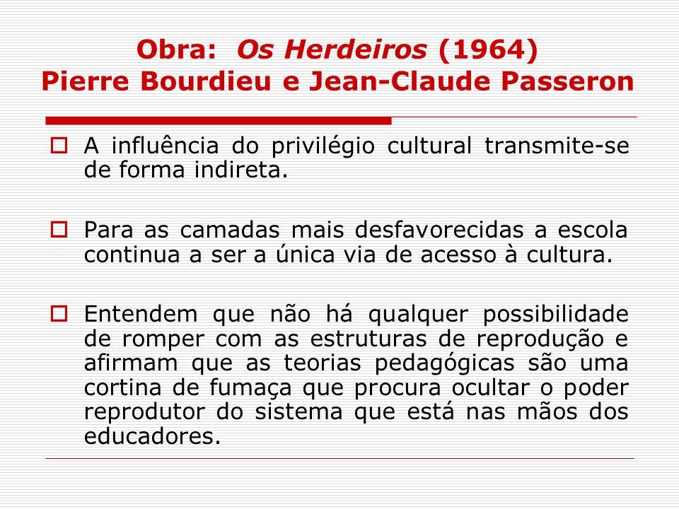 Obra: Os Herdeiros (1964) Pierre Bourdieu e Jean-Claude Passeron