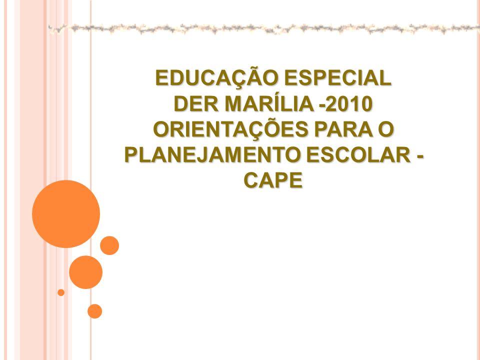 EDUCAÇÃO ESPECIAL DER MARÍLIA -2010 ORIENTAÇÕES PARA O PLANEJAMENTO ESCOLAR - CAPE
