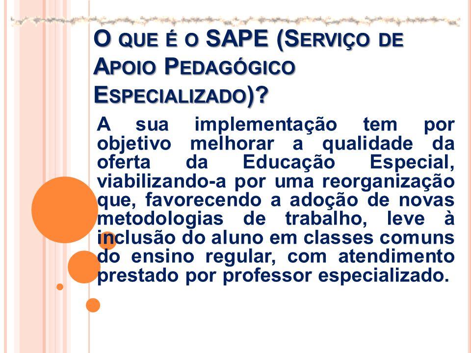 O que é o SAPE (Serviço de Apoio Pedagógico Especializado)