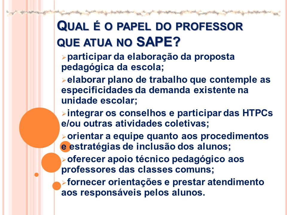 Qual é o papel do professor que atua no SAPE