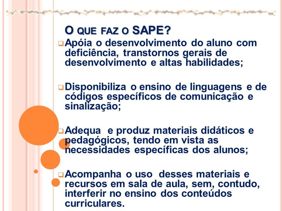 O que faz o SAPE Apóia o desenvolvimento do aluno com deficiência, transtornos gerais de desenvolvimento e altas habilidades;