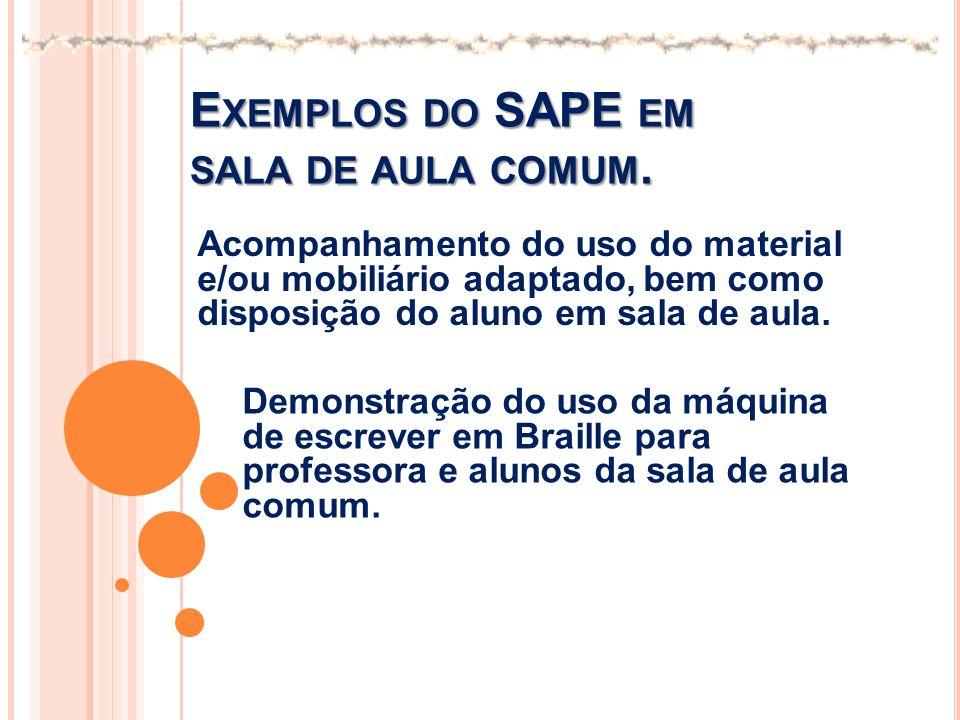 Exemplos do SAPE em sala de aula comum.