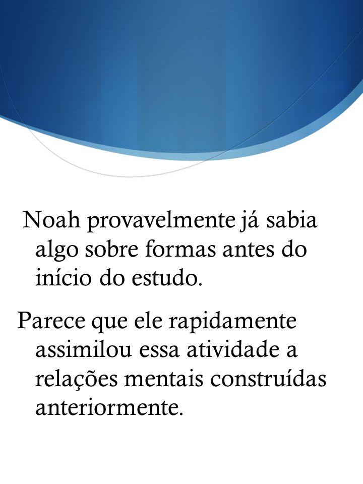 Noah provavelmente já sabia algo sobre formas antes do início do estudo.