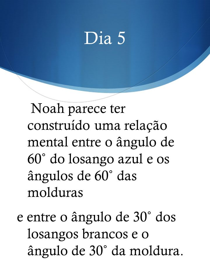Dia 5 Noah parece ter construído uma relação mental entre o ângulo de 60˚ do losango azul e os ângulos de 60˚ das molduras.