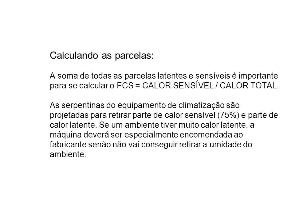 Calculando as parcelas: A soma de todas as parcelas latentes e sensíveis é importante para se calcular o FCS = CALOR SENSÍVEL / CALOR TOTAL.