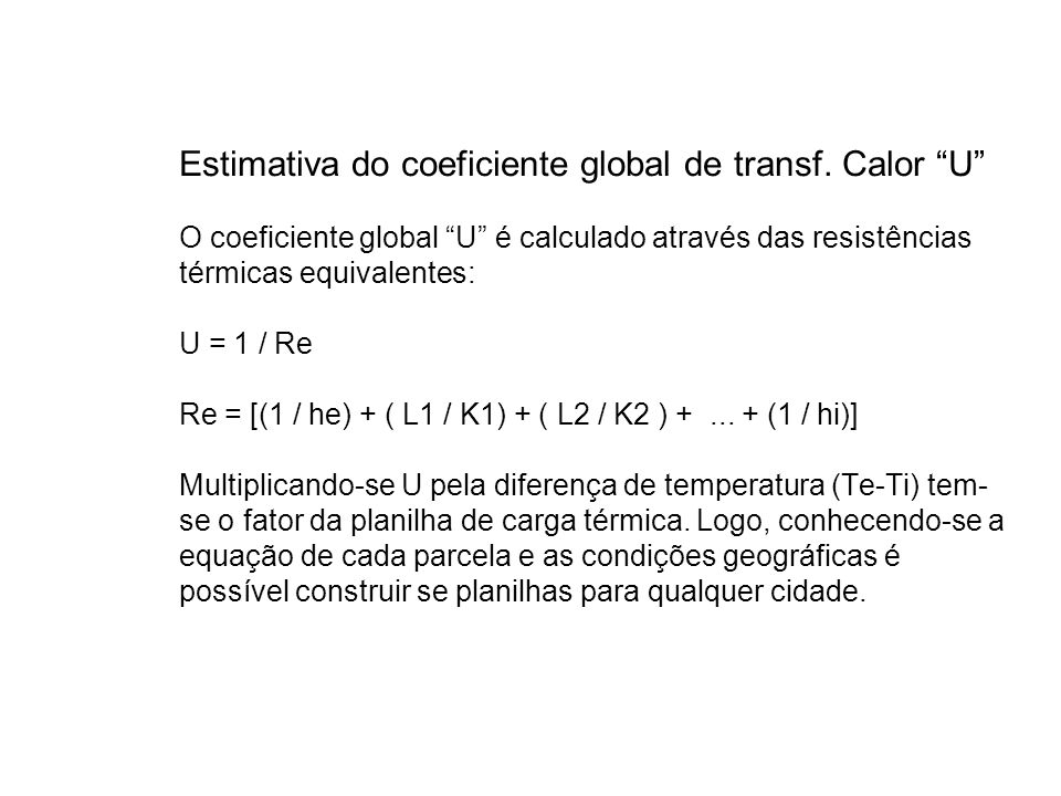 Estimativa do coeficiente global de transf