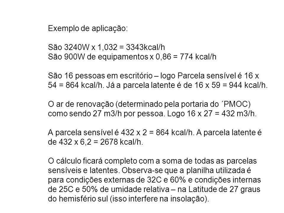 Exemplo de aplicação: São 3240W x 1,032 = 3343kcal/h São 900W de equipamentos x 0,86 = 774 kcal/h São 16 pessoas em escritório – logo Parcela sensível é 16 x 54 = 864 kcal/h.