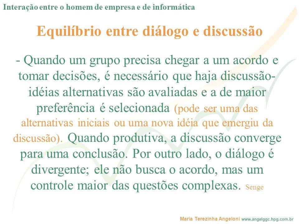 Equilíbrio entre diálogo e discussão