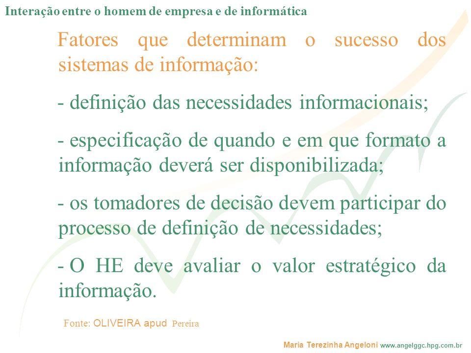 Fatores que determinam o sucesso dos sistemas de informação: