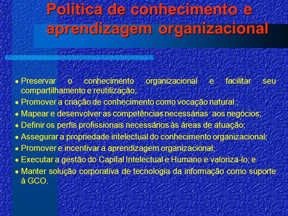Política de conhecimento e aprendizagem organizacional