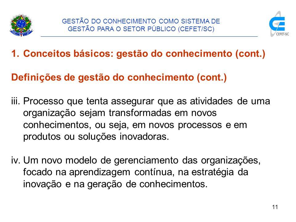 Conceitos básicos: gestão do conhecimento (cont.)