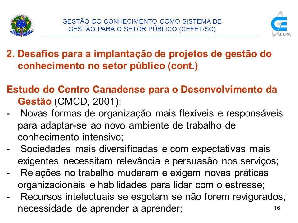 GESTÃO DO CONHECIMENTO COMO SISTEMA DE GESTÃO PARA O SETOR PÚBLICO (CEFET/SC)