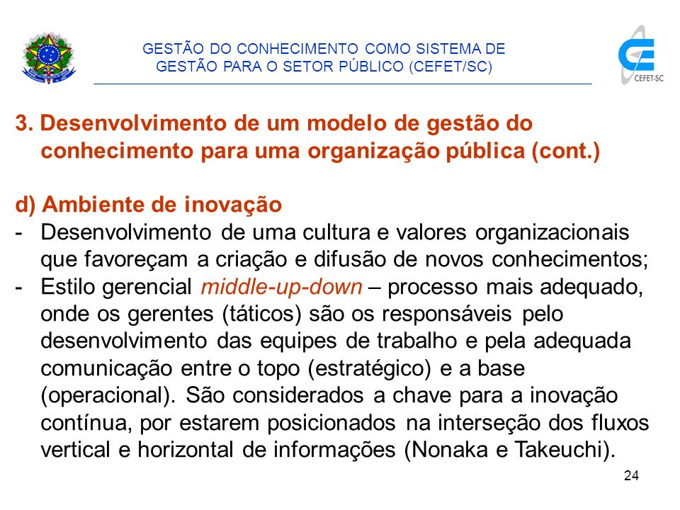d) Ambiente de inovação