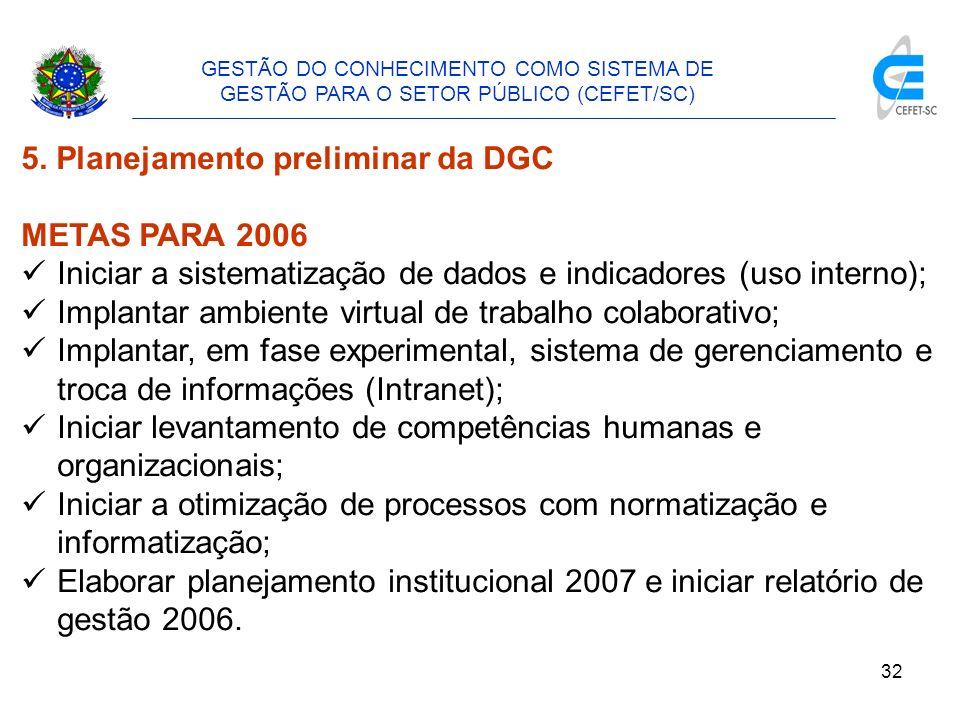 5. Planejamento preliminar da DGC METAS PARA 2006