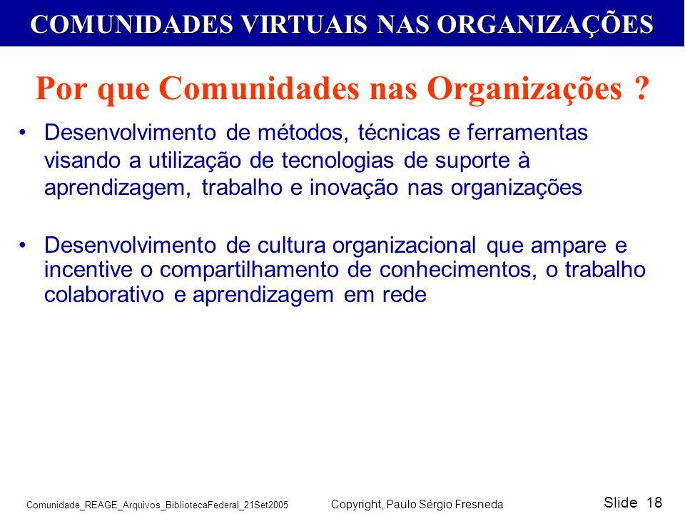 Por que Comunidades nas Organizações