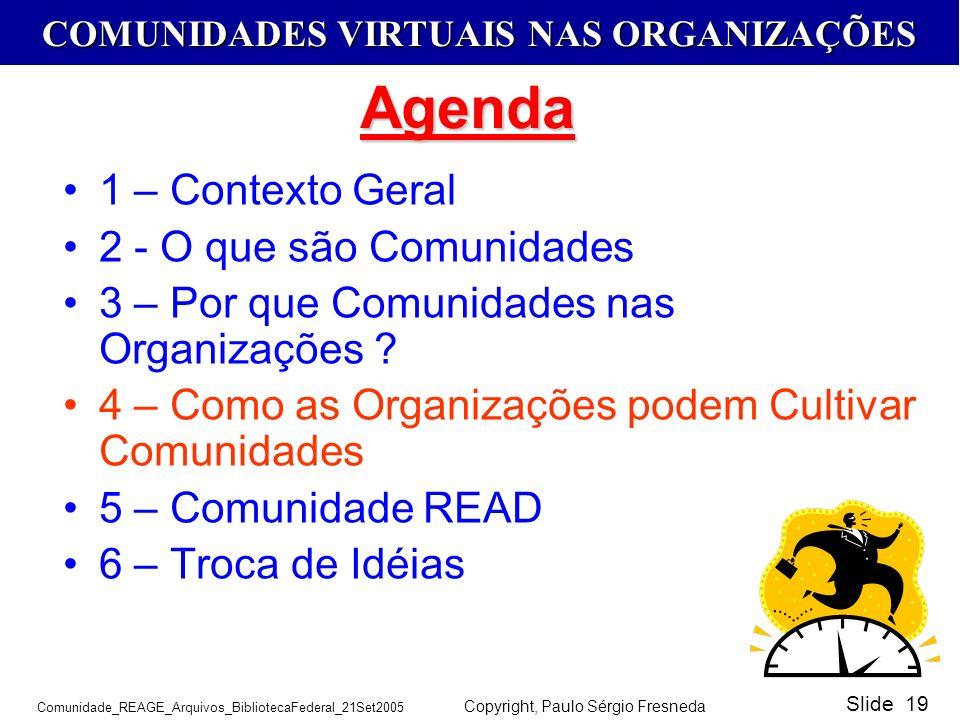 Agenda 1 – Contexto Geral 2 - O que são Comunidades