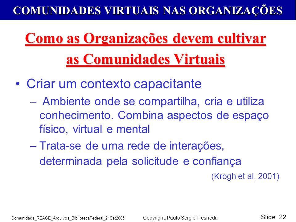 Como as Organizações devem cultivar as Comunidades Virtuais